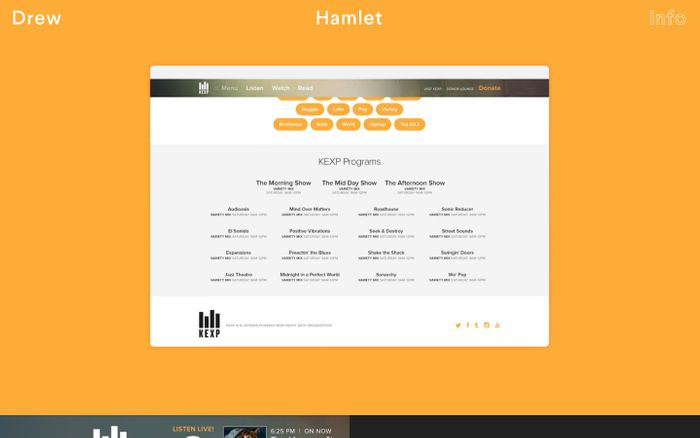 Screenshot of Drew Hamlet — Visual Designer and Director