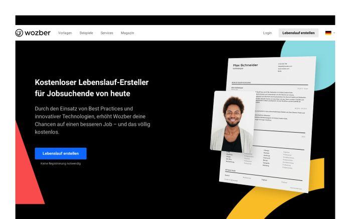 Screenshot of Kostenloser Lebenslauf-Ersteller für Jobsuchende von heute | Wozber