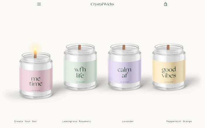 Screenshot of Crystal Wicks – Crystal Wicks Candles website