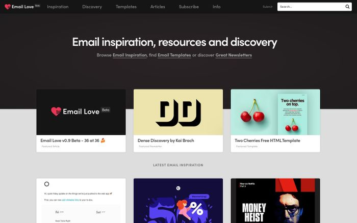 Screenshot of Email Love - Email Inspiration, Templates and Discovery