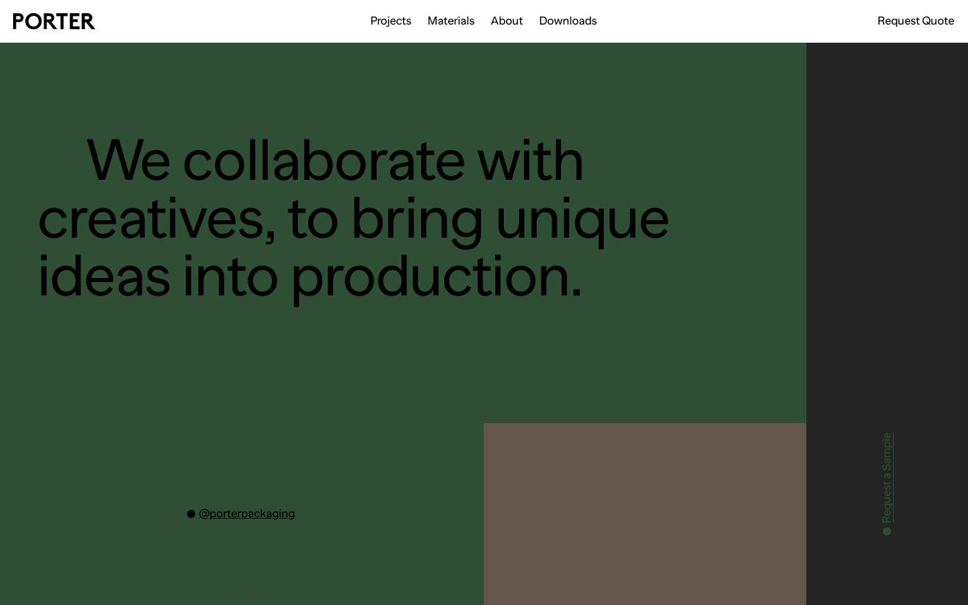 Screenshot of Porter Packaging website