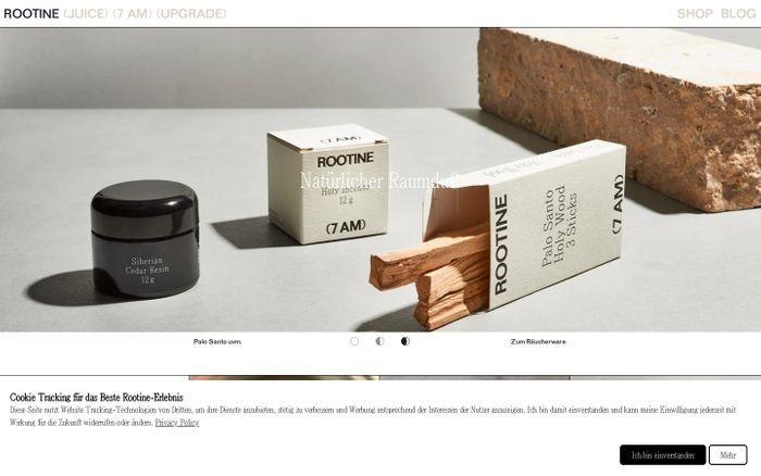 Screenshot of Rootine website
