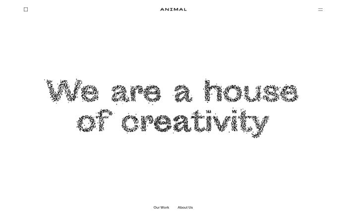 Screenshot of Animal - A house of creativity based in Stockholm.