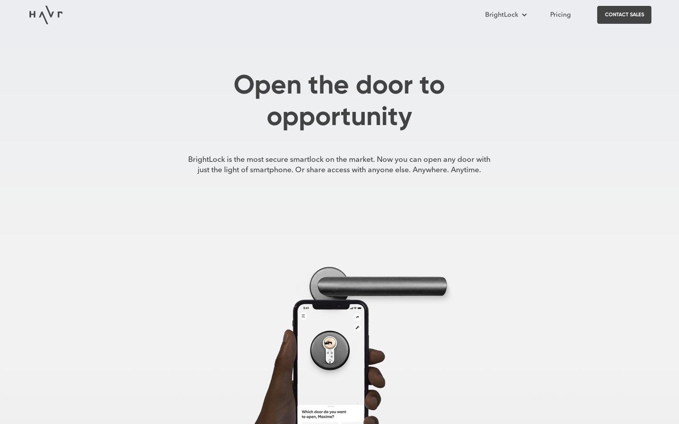 Screenshot of BrightLock website