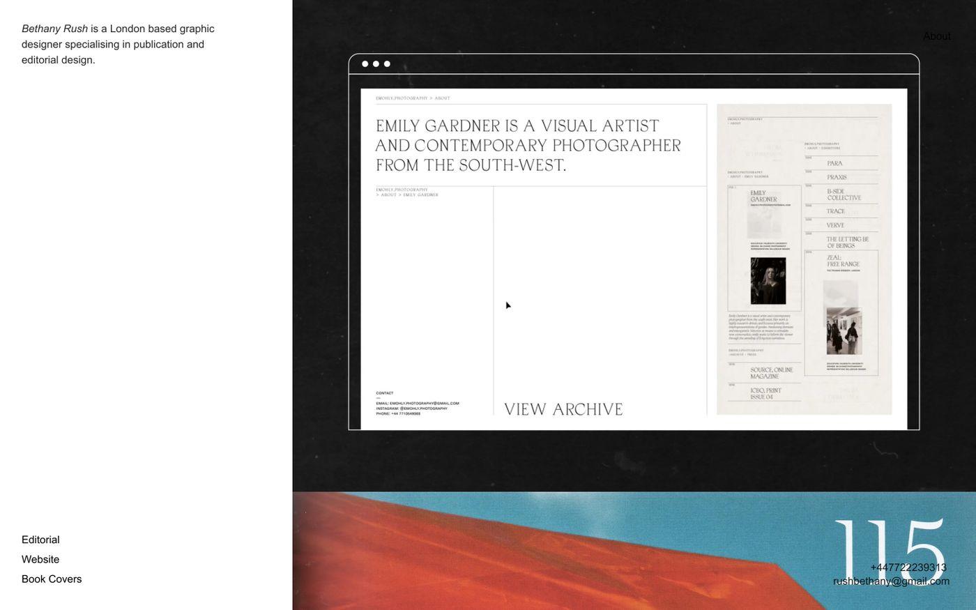 Screenshot of Bethany Rush website