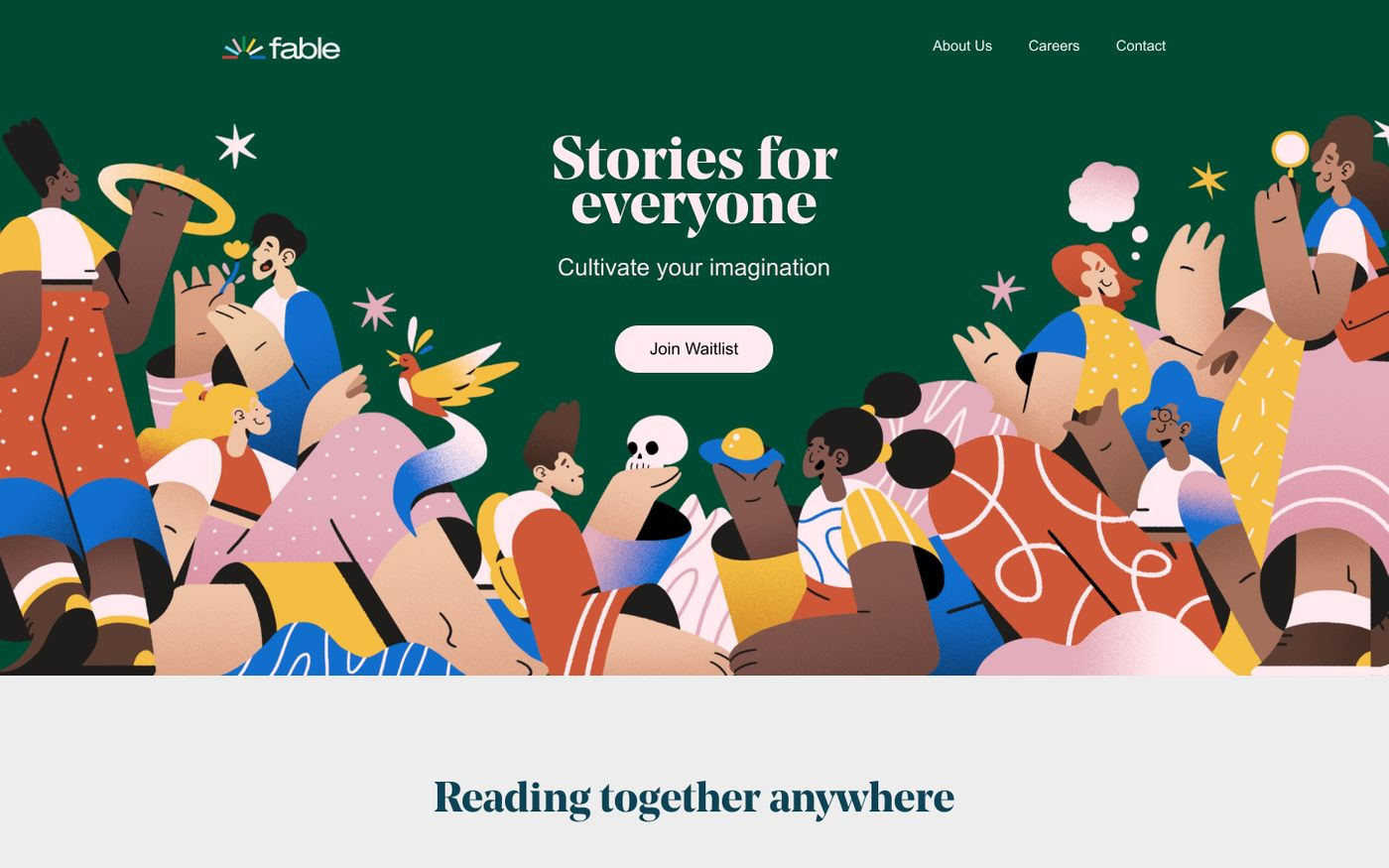 Screenshot of Fable | Stories for everyone website