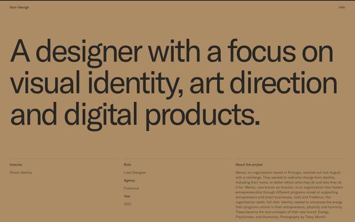 Screenshot of Sam George website