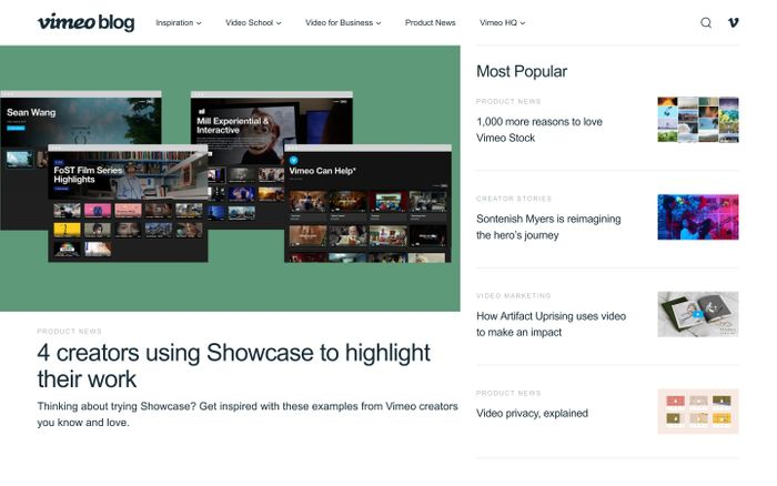 Screenshot of The Vimeo Blog