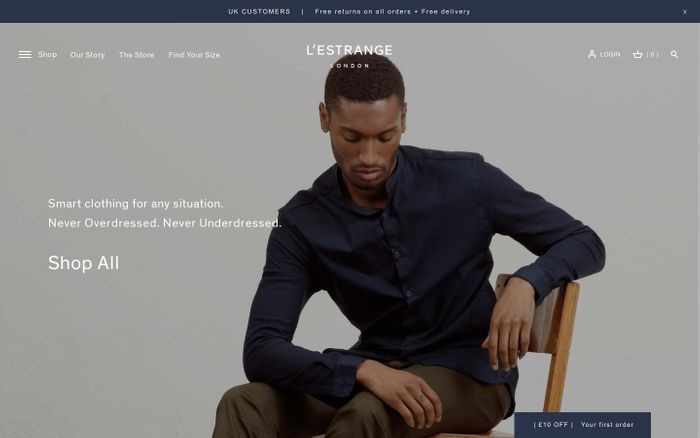 Screenshot of L'Estrange London website