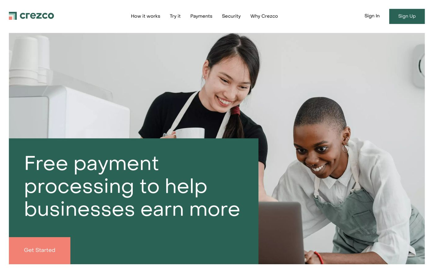 Screenshot of Crezco website