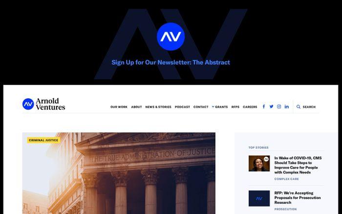 Screenshot of Arnold Ventures website