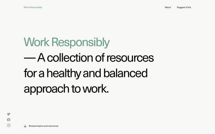 Screenshot of Work Responsibly website