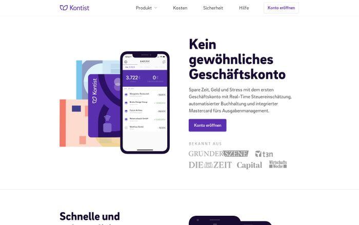 Screenshot of Kontist, intelligentes Banking für Selbstständige