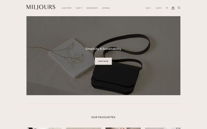 Screenshot of Miljours Studio website