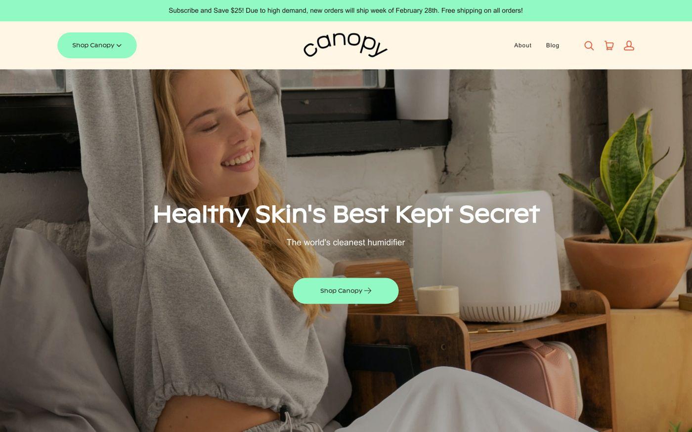 Screenshot of Canopy website