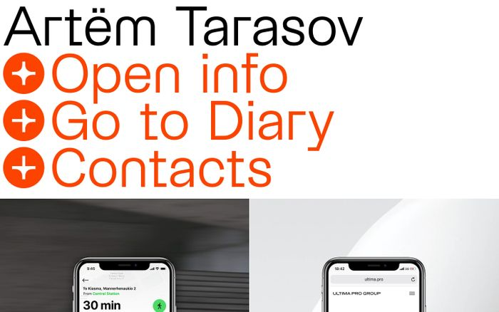 Screenshot of Artëm Tarasov website