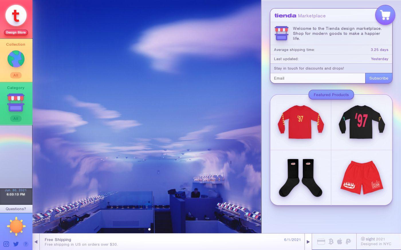 Screenshot of Tienda Design Store website