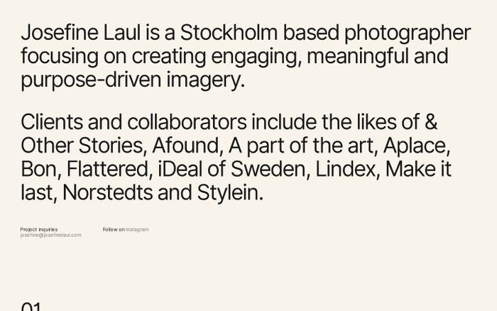 Screenshot of Josefine Laul website