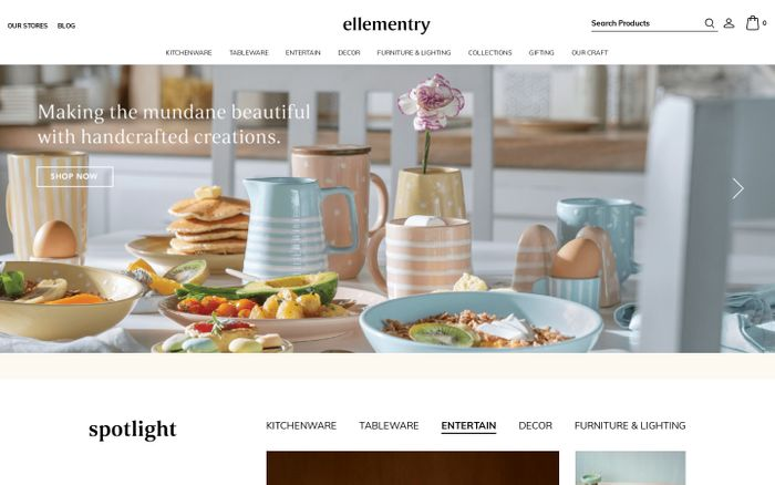 Screenshot of Buy handmade home decor products online at ellementry store