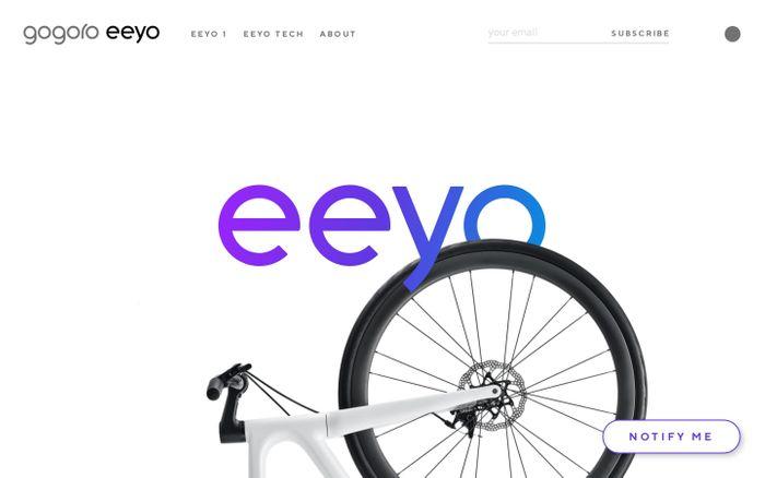 Screenshot of Gogoro Eeyo - An ultralight ebike that rides like nothing else. website