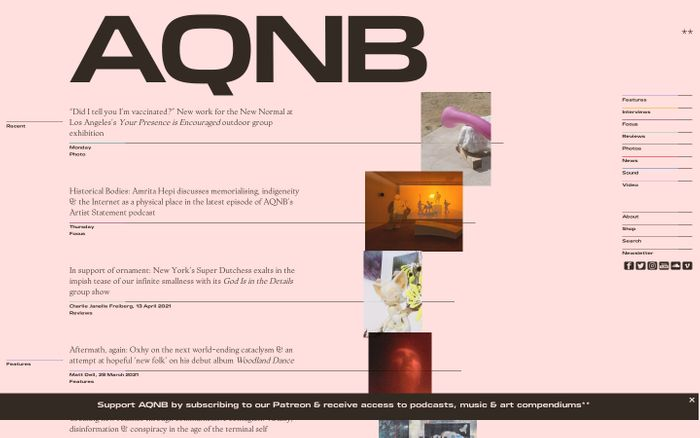 Screenshot of AQNB website