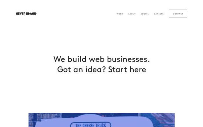 Screenshot of Neverbland website