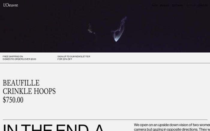 Screenshot of Loeuvre website