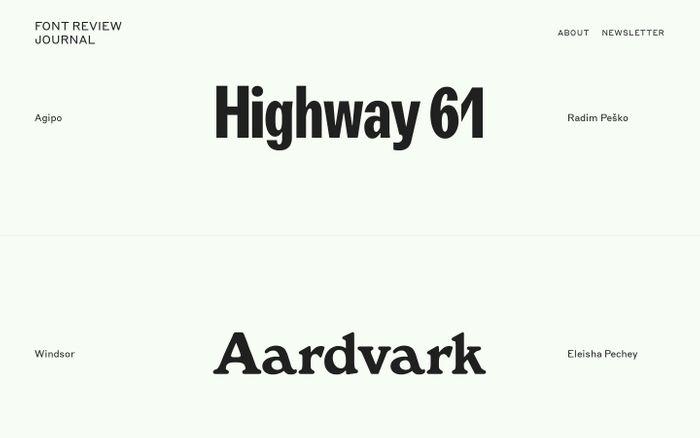 Screenshot of Font Review Journal