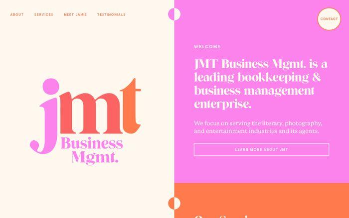 Screenshot of JMT business mgmt. website