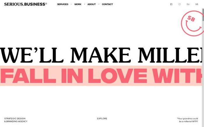 Screenshot of Serious business website
