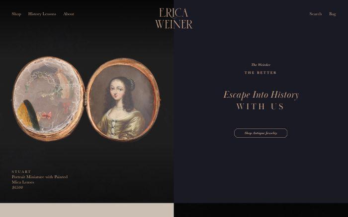 Screenshot of Erica Weiner website