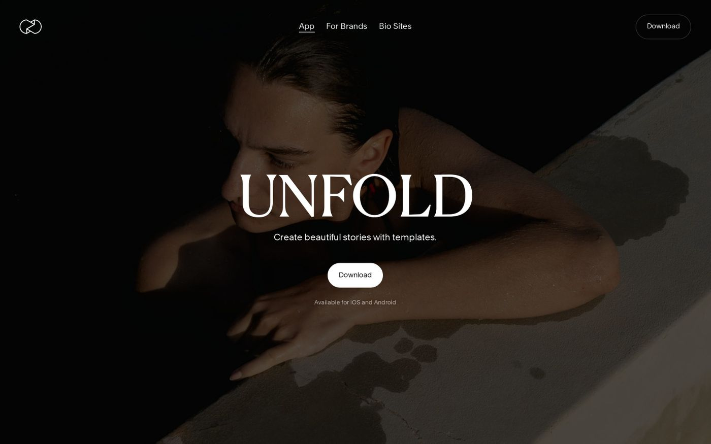 Screenshot of Unfold website