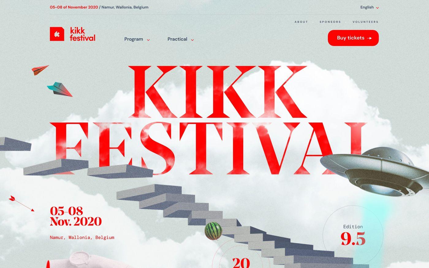 Screenshot of KIKK Festival 2020 website