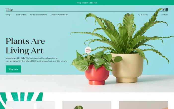 Screenshot of Indoor Potted Plants Delivered to Your Door – The Sill website