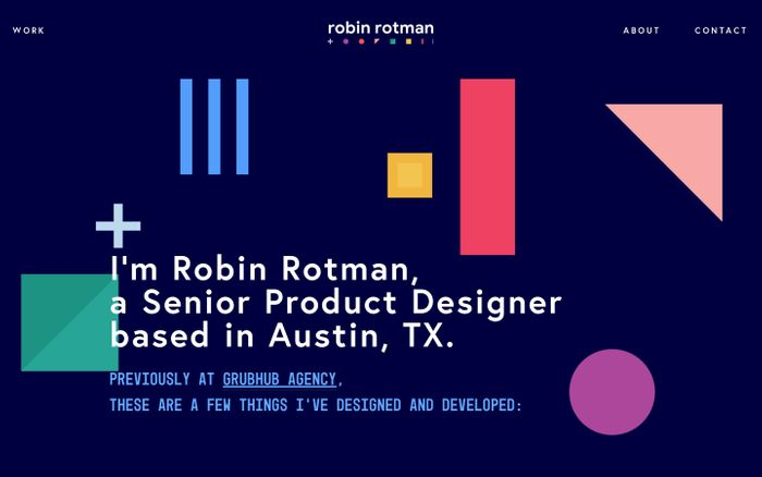 Screenshot of Robin Rotman | Product Designer website
