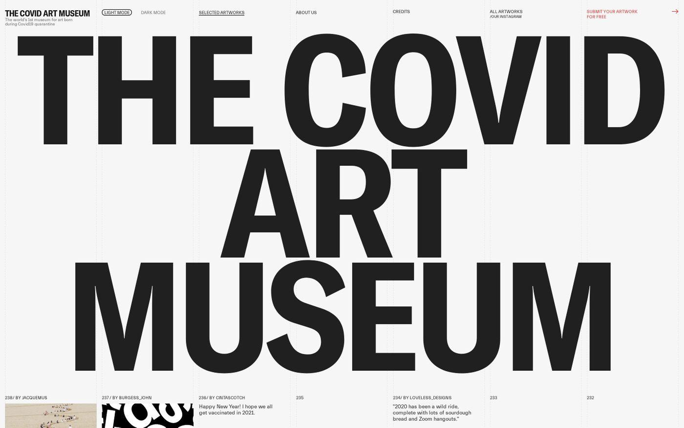 Screenshot of The Covid art museum website
