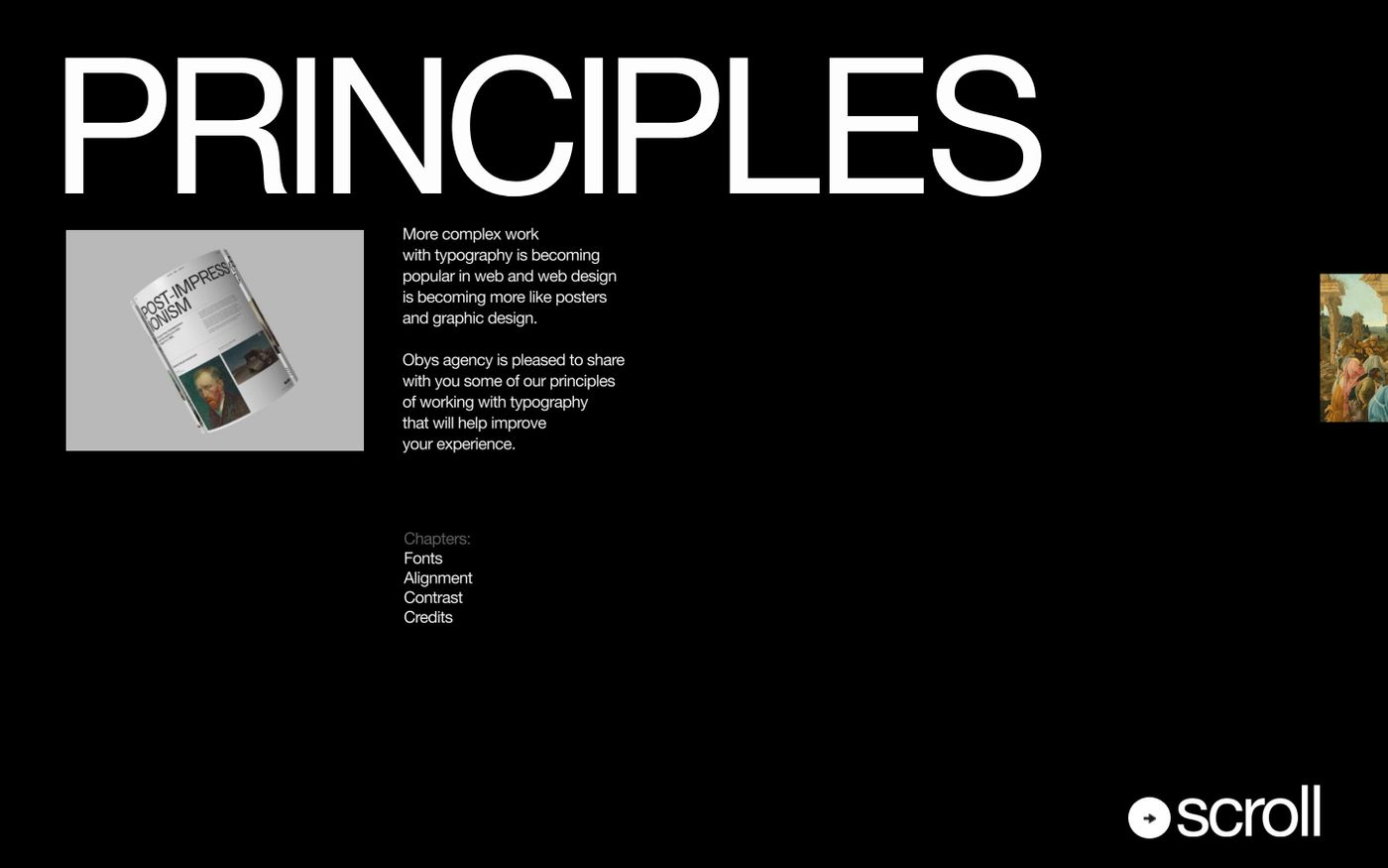 Screenshot of Typography Principles website