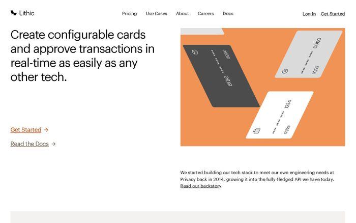 Screenshot of Lithic website