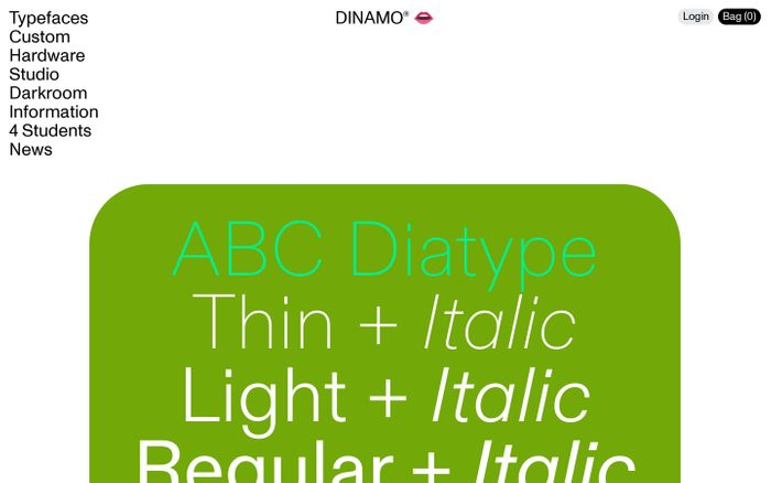 Screenshot of Home — Dinamo Typefaces