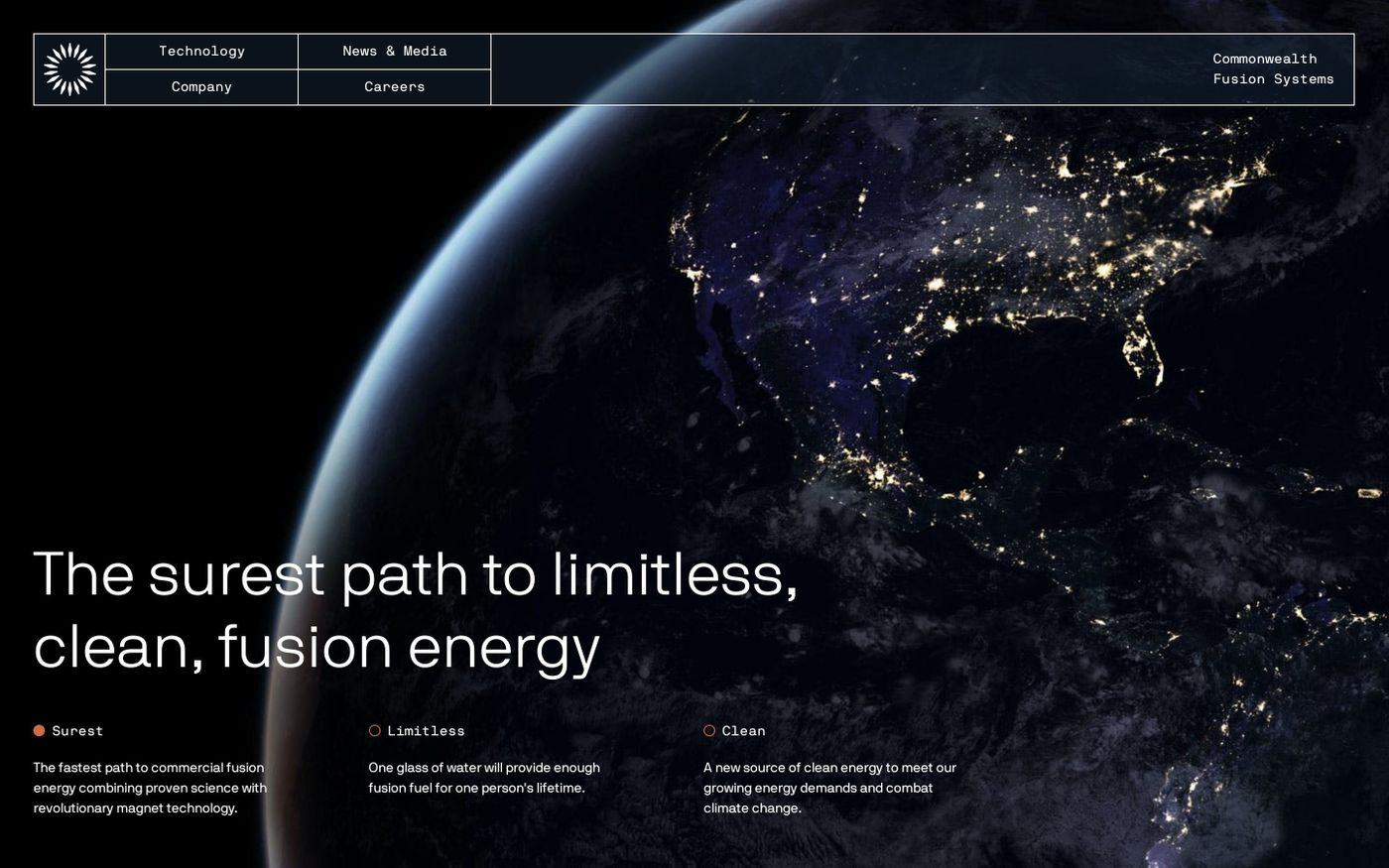 Screenshot of  Commonwealth Fusion Systems website