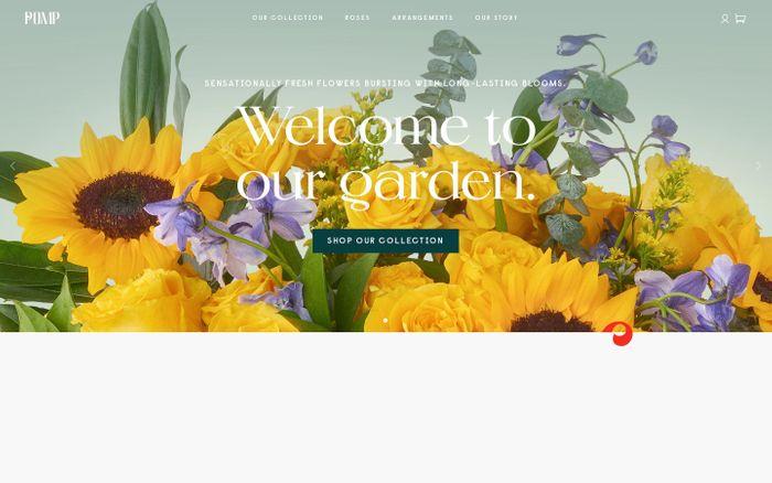Screenshot of Pomp flowers website