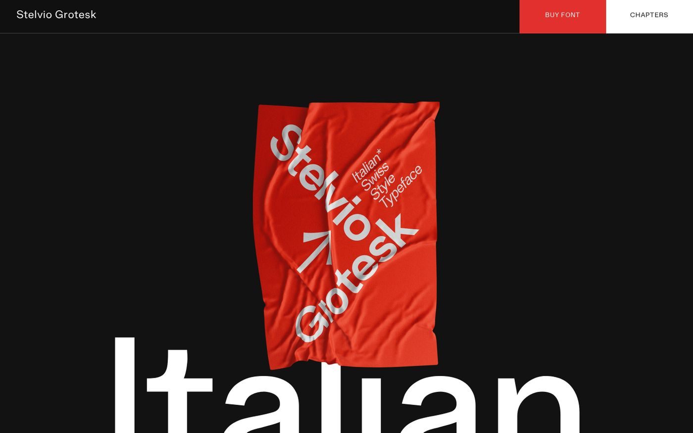 Screenshot of Stelvio Grotesk - A Italian Swiss Style Typeface website