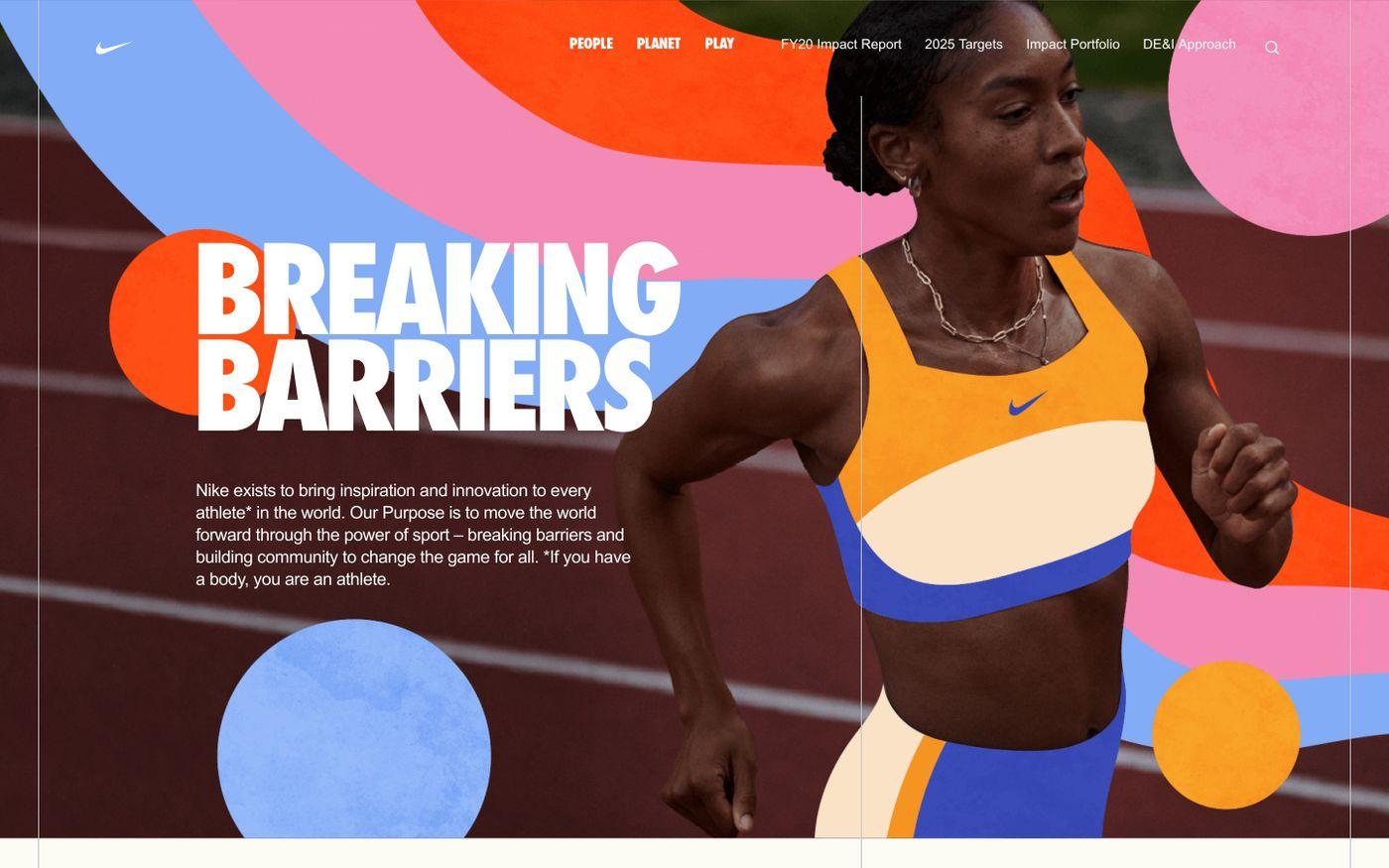 Screenshot of Nike purpose website