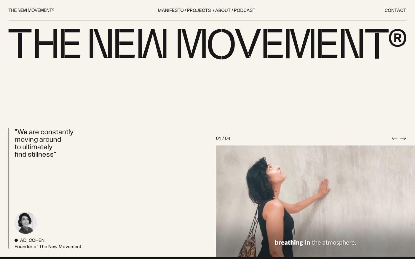 Screenshot of The new movement website