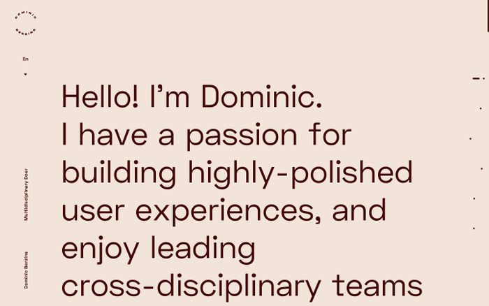 Screenshot of Dominic Berzins website