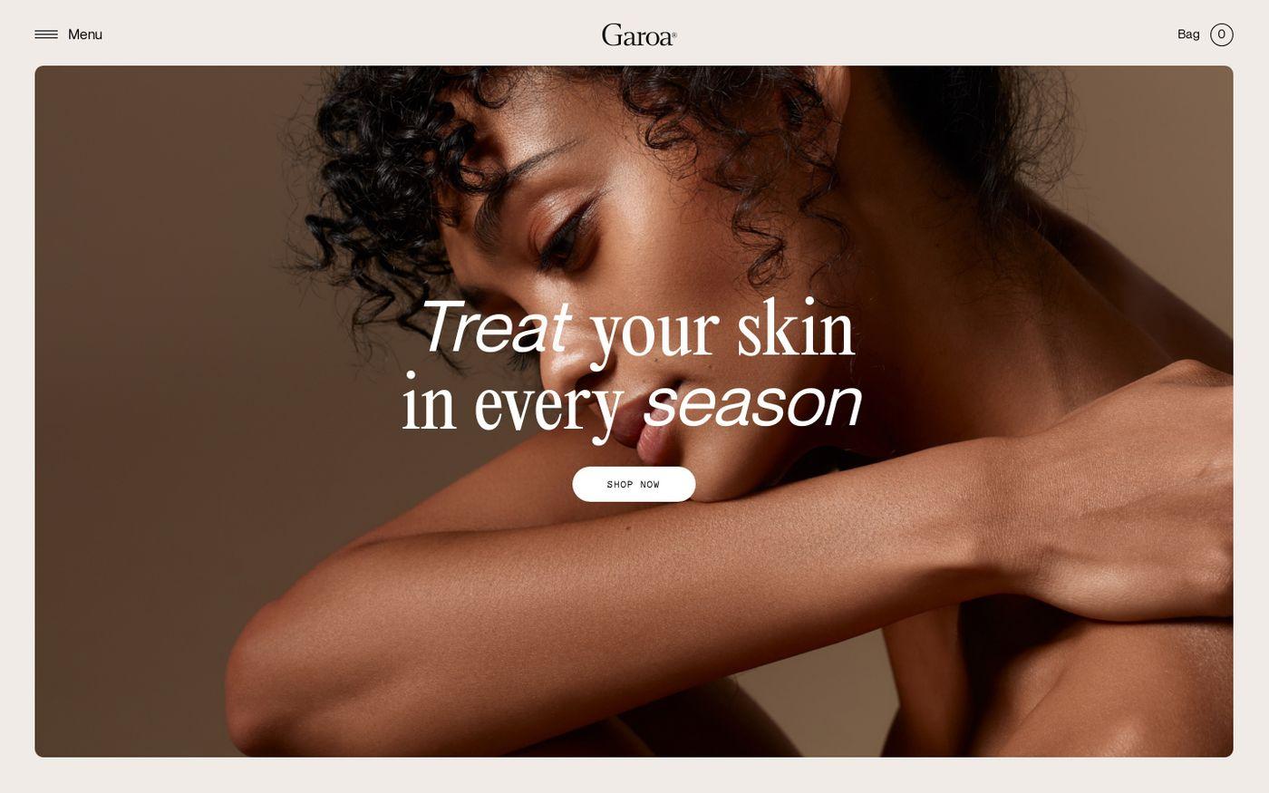 Screenshot of Garoa skincare website