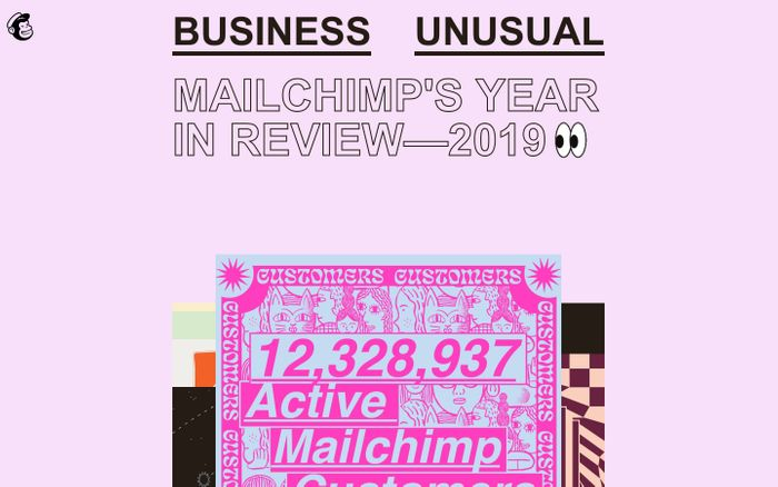 Screenshot of Mailchimp's 2019 Annual Report website