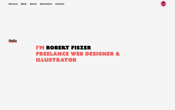 Screenshot of Robert Fiszer – Freelance Web Designer & Illustrator in London