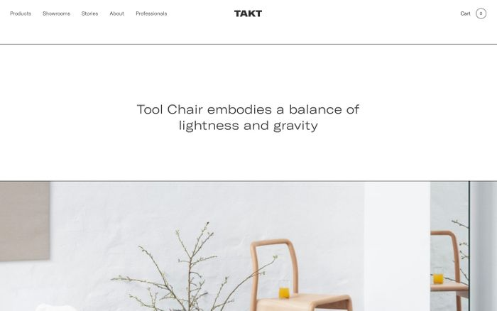 Screenshot of Takt furniture website