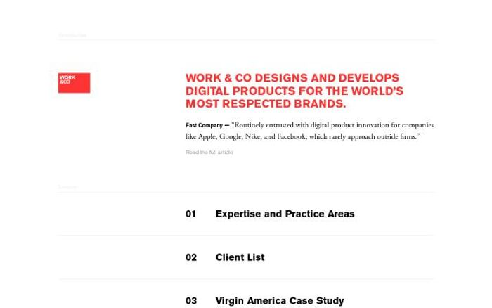 Screenshot of Work & Co website